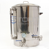 30 Gallon Brew Kettle - with Thermowell, Thermometer, Tangential Inlet, Sight Glass (Direct Fire)